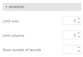 Set row or column limits in pivot tables