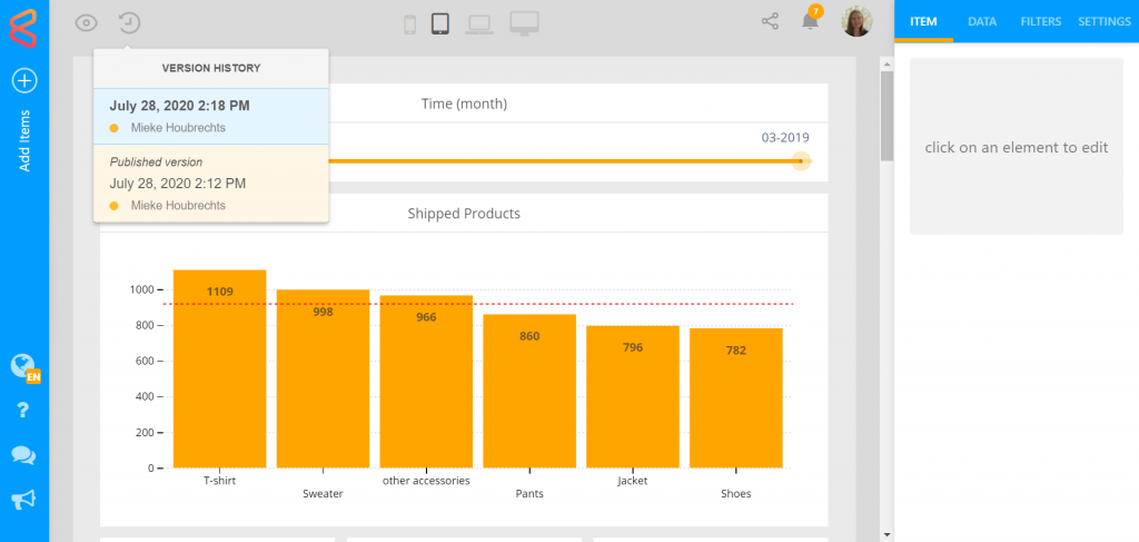 Published dashboard versions for in-production protection